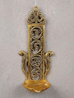 Brass Twin Parrot Lamp 4.6in x 4in x 10.6in
