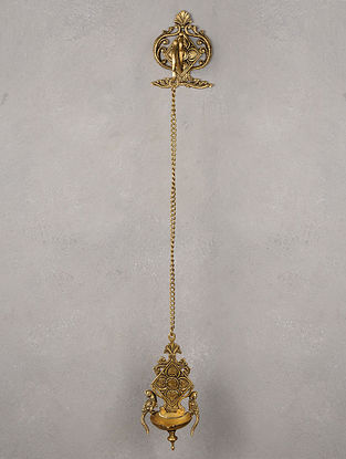 Brass Twin Parrot Flower Diya with Chain & Hanger 6in x 5in x 5.6in