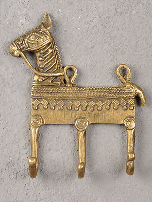 Brass Hook With Horse Motif 4in x 1in x 4.6in