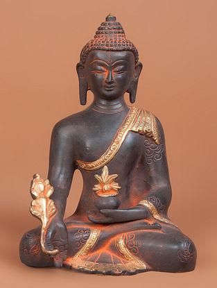 Brass Buddha Sitting Statue 4in x 6in x 8in