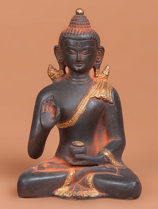 Brass Small Kundal Throne Statue 2.6in x 4.2in x 6.1in