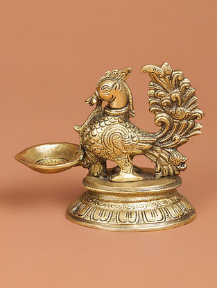 Brass Bird Oil Lamp 5.5in x 3in x 4.7in