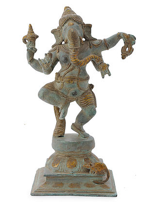 Brass Home Accent with Dancing Lord Ganesha Design