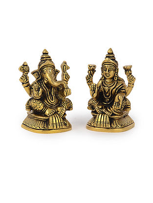 Brass Home Accent with Lord Ganesha and Goddess Lakshmi Design (Set of 2) (L: 1.6in, W: 1.5in, H: 3in)