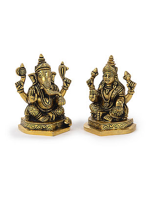 Brass Home Accent with Lord Ganesha and Goddess Lakshmi Design (Set of 2) (L: 2.5in, W: 2.2in, H: 3.6in)
