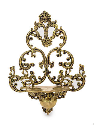 Brass Wall Diya with Peacock Motif (L: 14.2in, W: 10.6in, H: 7.2in)