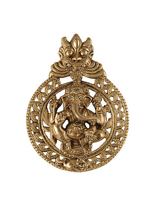 Brass Wall Accent with Lord Ganesha Design (L:10.5in, W:7.5in, H:2in)