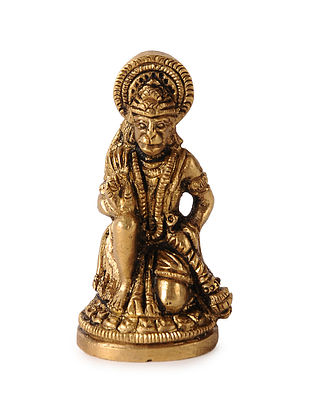 Brass Home Accent with Lord Hanuman Design (L:1.5in, W:1.1in, H:2.5in)