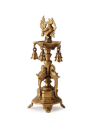 Brass Lamp Stand with Peacock Design (L:4.2in, W:4.2in, H:13in)