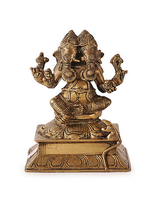 Brass Home Accent with Lord Ganesha Two Face Design (L:4.5in, W:3.5in, H:6in)