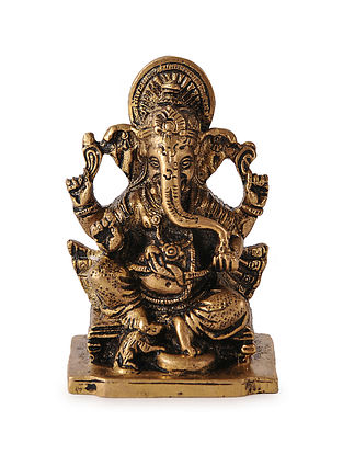 Brass Home Accent with Lord Ganesha Design (L:2.5in, W:2in, H:3.6in)