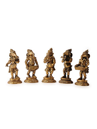 Brass Home Accent with Lord Ganesha Musicians Design (Set of 5) (L:3.5in, W:2.5in, H:8in)