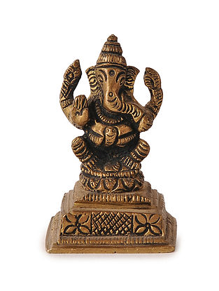 Brass Home Accent with Lord Ganesha Design (L:1.5in, W:1.1in, H:2.2in)