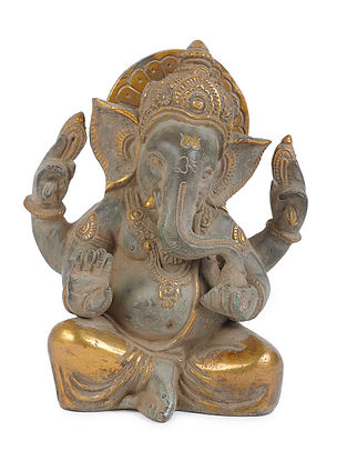 Brass Home Accent with Ganesha Design (L - 4.7in, W - 3in, H - 7.3in)