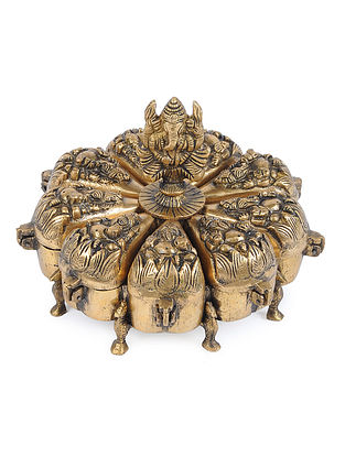 Brass Decorative Box with Ganesha Design (L - 8in, W - 8in, H - 6.5in)