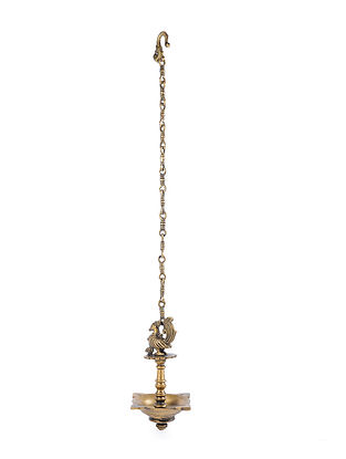 Brass Hanging Lamp with Bird Design (L - 7in, W - 7in, H - 10in)