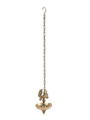 Brass Hanging Lamp with Bird Design (L - 5.5in, W - 5in, H - 9.2in)
