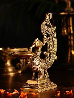 Brass Bird Lamp (L- 6in, W- 2.2in, H- 6.6in)