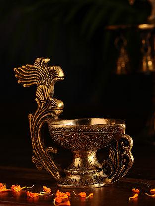 Brass Lamp (L- 6.6in, W- 3.1in, H- 5.5in)