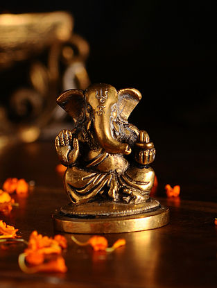 Brass Ganesh (L- 1.7in, W- 1.7in, H- 2.5in)