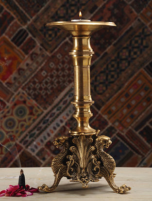 Brass Candle Stand (Dia- 5.3in, H- 12.6in)