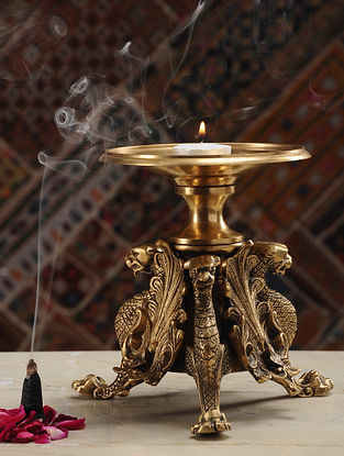 Brass Candle Stand (Dia- 5.3in, H- 6.6in)