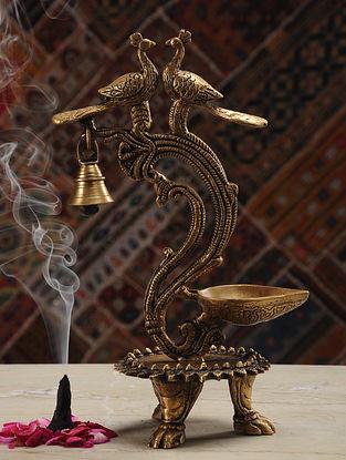 Bird Brass Lamp (L- 6in, W- 4.2in, H- 11.2in)