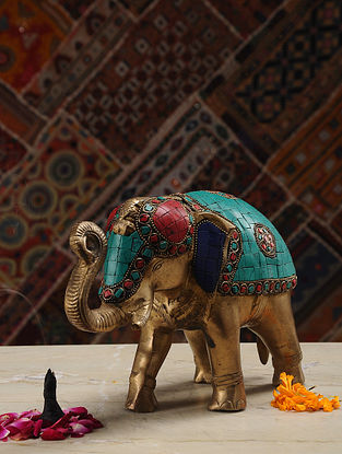 Elephant Brass Tabletop Accent (L- 10.5in, W- 3.6in, H- 6.5in)