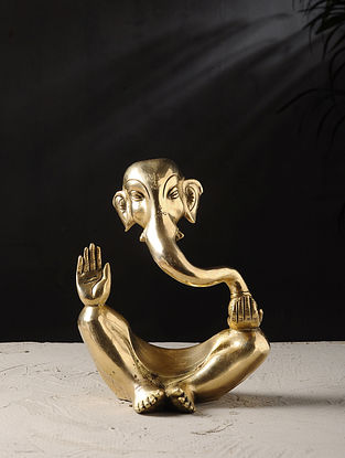Brass Ganesha Tabletop Accent (L- 4in, W- 6.5in, H- 8in)