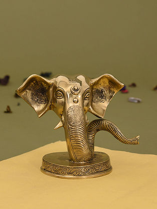 Brass Ganesha Face Tabletop Accessory (L - 8.5in, W - 4.5in, H - 6.2in)