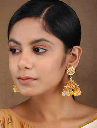Gold Tone Handcrafted Jhumkas