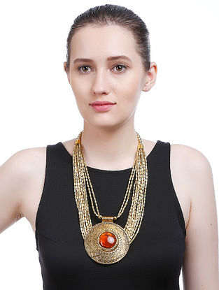 Brown Gold Tone Handcrafted Necklace
