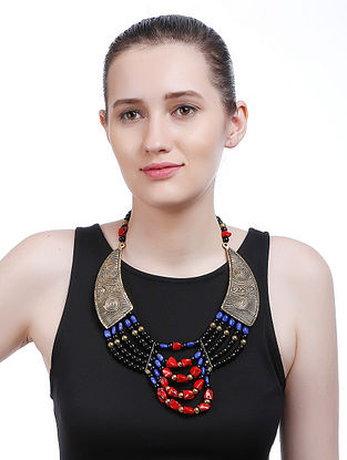 Multicolored Gold Tone Handcrafted Necklace