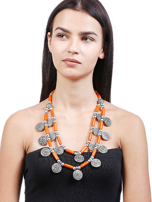 Orange Silver Tone Handcrafted Necklace