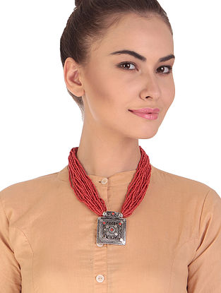 Red Silver Tone Handcrafted Necklace