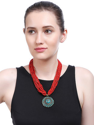 Red-Blue Gold Tone Handcrafted Necklace