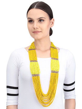Yellow Handcrafted Beaded Necklace