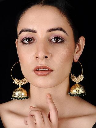 Green Gold Tone Pearl Beaded Earrings
