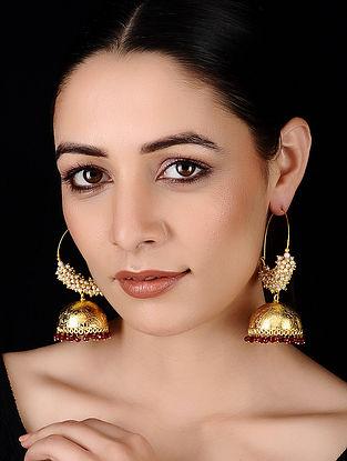 Red Gold Tone Pearl Beaded Earrings