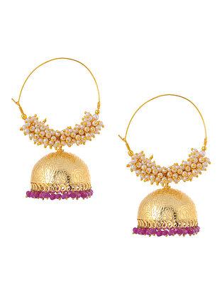 Pink Gold Tone Pearl Beaded Earrings