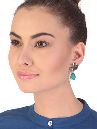 Turquoise Dual Tone Handcrafted Earrings