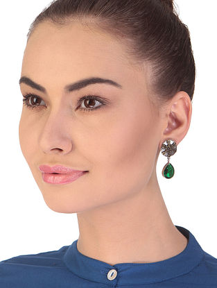 Green Dual Tone Handcrafted Earrings