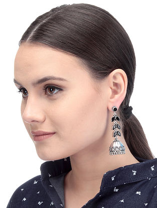 Black Silver Tone Handcrafted Jhumkis