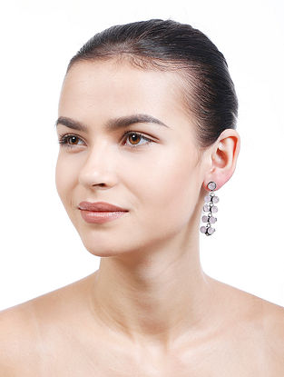 Grey Silver Tone Handcrafted Earrings