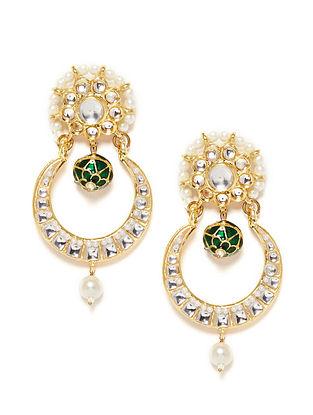 Green-White Gold Tone Kundan Inspired Earrings