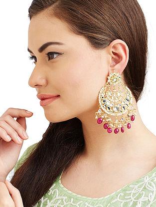 Pink Gold Tone Kundan Inspired Earrings