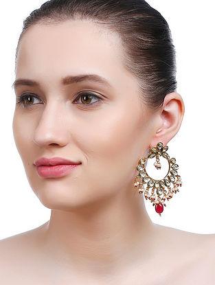 Red-White Gold Tone Kundan Inspired Earrings
