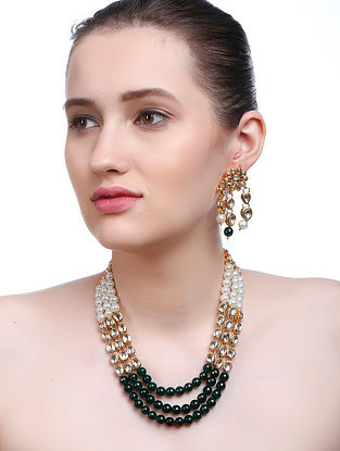 Green-White Gold Tone Kundan Inspired Necklace with Earrings (Set of 2)