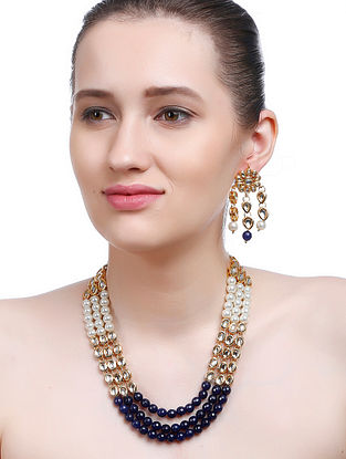 Blue-White Gold Tone Kundan Inspired Necklace with Earrings (Set of 2)