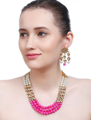 Pink-White Gold Tone Kundan Inspired Necklace with Earrings (Set of 2)